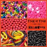 Truco de Halloween o collage de los fondos del caramelo de la invitación Imagen de archivo libre de regalías