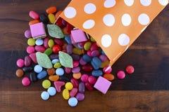 Truco del partido de Halloween del caramelo de la invitación Imagen de archivo
