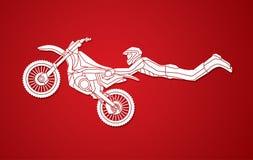 Truco del vuelo del motocrós del estilo libre Fotos de archivo libres de regalías