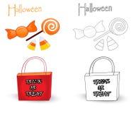 Truco o bolso y caramelos del convite Imagenes de archivo