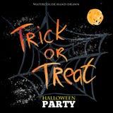 Truco o convite Diseño del partido del feliz Halloween Foto de archivo libre de regalías