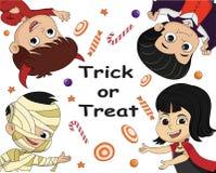 Truco o convite Tarjeta del fondo del cartel de Halloween Vector e illus Imagen de archivo libre de regalías