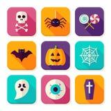 Truco plano de Halloween o iconos cuadrados del App de la invitación fijados Imagenes de archivo