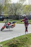 Trucos de la motocicleta, demostración en MTS Szczecin foto de archivo libre de regalías