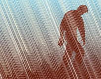 Trudge. Editable  illustration of a man walking in torrential rain Royalty Free Stock Photos