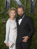 Trudie Styler and Sting at the 2015 Tony Awards. Brits Trudie Styler and husband musician/actor/singer, Sting, arrive on the red carpet for the 69th Annual Tony Stock Photo