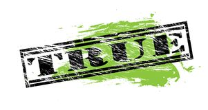 True black and green stamp on white background. True black and green  stamp Stock Photography