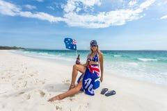 Free True Blue Fair Dinkum Australian Girl Laid Back On The Beach Stock Photo - 137388300