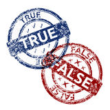 True blue and false red grunge round vintage rubber stamp Royalty Free Stock Photo