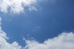 True blue heaven with white cumulus in corners Stock Photography