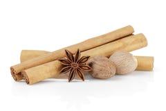 True ceylon cinnamon sticks with nutmeg and anise Royalty Free Stock Image