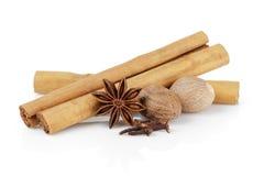 True ceylon cinnamon sticks with nutmeg, cloves and anise Stock Photography