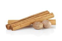 True ceylon cinnamon sticks with nutmeg Royalty Free Stock Images
