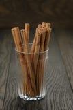 True cinnamon sticks in glass Royalty Free Stock Photography