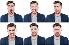 True emotions. Collage of handsome young man expressing different emotions while standing against white background Royalty Free Stock Photography