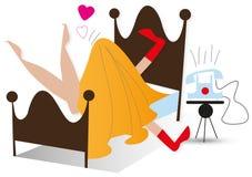 True förälskelse i sängen, medan telefonen ringer Fotografering för Bildbyråer