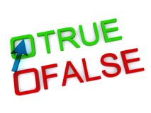 True and false. Green shiny true button and red shiny false button with text and cursor Royalty Free Stock Photo