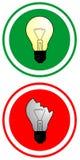 True and false bulbs. Circular indicator of true and false using bulbs Stock Photo