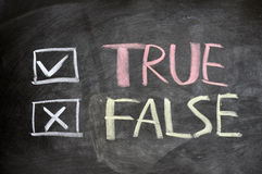 True and false check boxes written on a blackboard Royalty Free Stock Photography