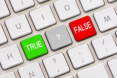 True or False choice on keyboard. True or False choice on white keyboard Stock Photos