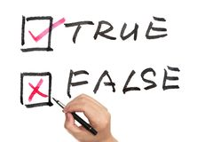 True or false. Choosing from true or false using pen Royalty Free Stock Images