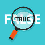 True false concept business magnifying word focus on text Royalty Free Stock Photography