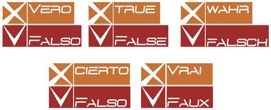 True or false. Idea to present a questionnaire in five different languages Stock Images