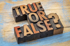 True or false question in wood type Royalty Free Stock Image