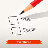True false test or survey. Red pencil above first checkbox on the paper ready to mark an answer. Flat style vector illustration isolated on grey background Royalty Free Stock Photos