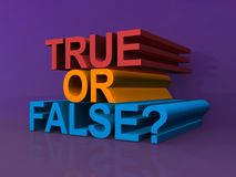 True or false ?. Text 'true or false' illustrated in red, yellow and blue uppercase three dimensional letters, mauve background Stock Photo