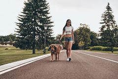 True friend. Full length of beautiful young woman walking with her dog while spending time outdoors Royalty Free Stock Photos