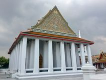 Roof of Pier entrance to Kanlayanamit Temple in Bangkok Thailand. True friend temple Wat Kalayanamit Varamahavihara is a Buddhist temple in Bangkok, Thailand Royalty Free Stock Images