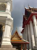 Roof of Pier entrance to Kanlayanamit Temple in Bangkok Thailand. True friend temple Wat Kalayanamit Varamahavihara is a Buddhist temple in Bangkok, Thailand Royalty Free Stock Image