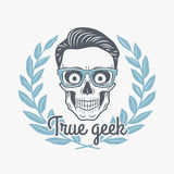 True geek skull vector with hipster glasses. And laurel leafs. Crazy deadman insignia template. Smiling skeleton badge design. Jolly student label Stock Images