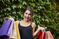 True girl`s happiness. Young beautiful dark-haired caucasian women in black dress holding big amount of colorful bags in. True girl`s happiness. Young beautiful Stock Photos