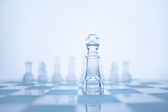 The true leadership. Photo of chess king standing in front of the same colour set in bright background Stock Images