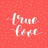True love. Brush lettering vector illustration. True love. Brush hand lettering vector illustration. Inspiring quote. Modern calligraphy. Can be used for photo Royalty Free Stock Photos