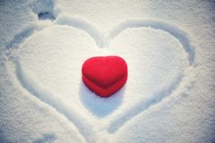 Heart box with snow royalty free stock photos