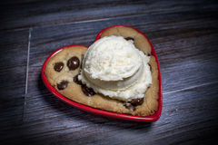 True Love Chocolate Chip Cookie with Vanilla Bean Ice Cream Stock Images