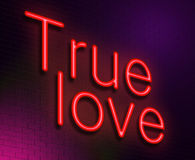 True love concept. Illustration depicting an illuminated neon sign with a true love concept Royalty Free Stock Photos