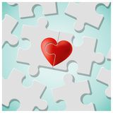 True love concept with pieces of red heart puzzle join together. Vector , illustration Stock Photo
