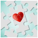 True love concept with pieces of red heart puzzle join together. Vector , illustration Stock Images
