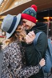True love emotions of joyful cute couple enjoying time together outdoor in city. Lovely happy moments, having fun stock image