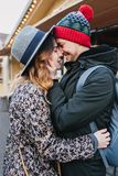 True love emotions of joyful cute couple enjoying time together outdoor in city. Lovely happy moments, having fun royalty free stock photo
