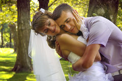 True love. Loving couple embracing in park. happy newlyweds Stock Photo