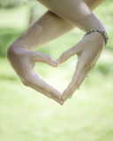 True Love. A man and a woman making a heart with their Hands Royalty Free Stock Image