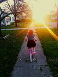 True love. My daughter riding into the sunset Stock Images