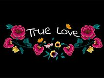 True love slogan with embroidery flowers for t shirt and print design. True love slogan with embroidery flowers. Vector patch for fashion apparels, t shirt royalty free illustration