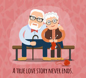 True love story never ends. A true love story never ends. elderly people, the lovers cuddling on a bench Stock Photos