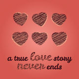 'A true love story never ends' typography. Valentine's Day Love Card. Royalty Free Stock Photography